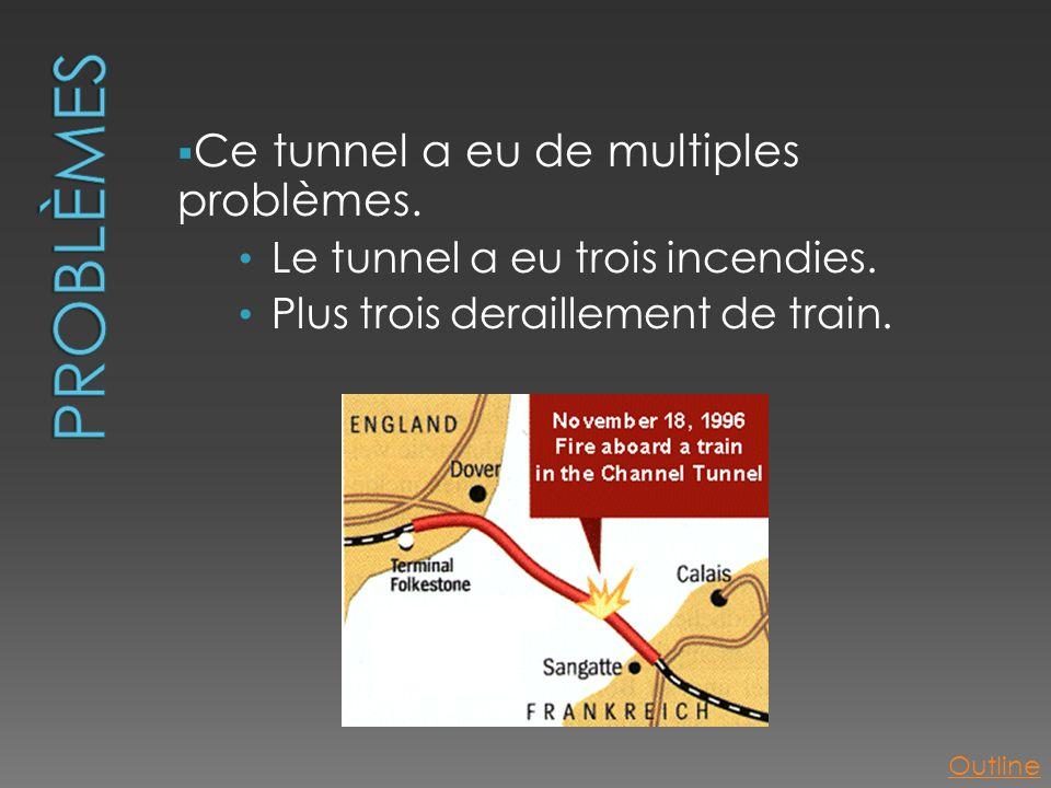  Ce tunnel a eu de multiples problèmes. • Le tunnel a eu trois incendies. • Plus trois deraillement de train. Outline