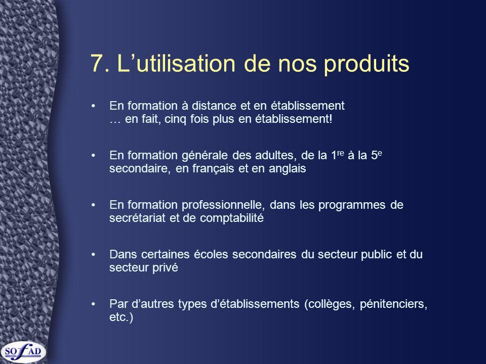 7. L'utilisation de nos produits •En formation à distance et en établissement … en fait, cinq fois plus en établissement! •En formation générale des a
