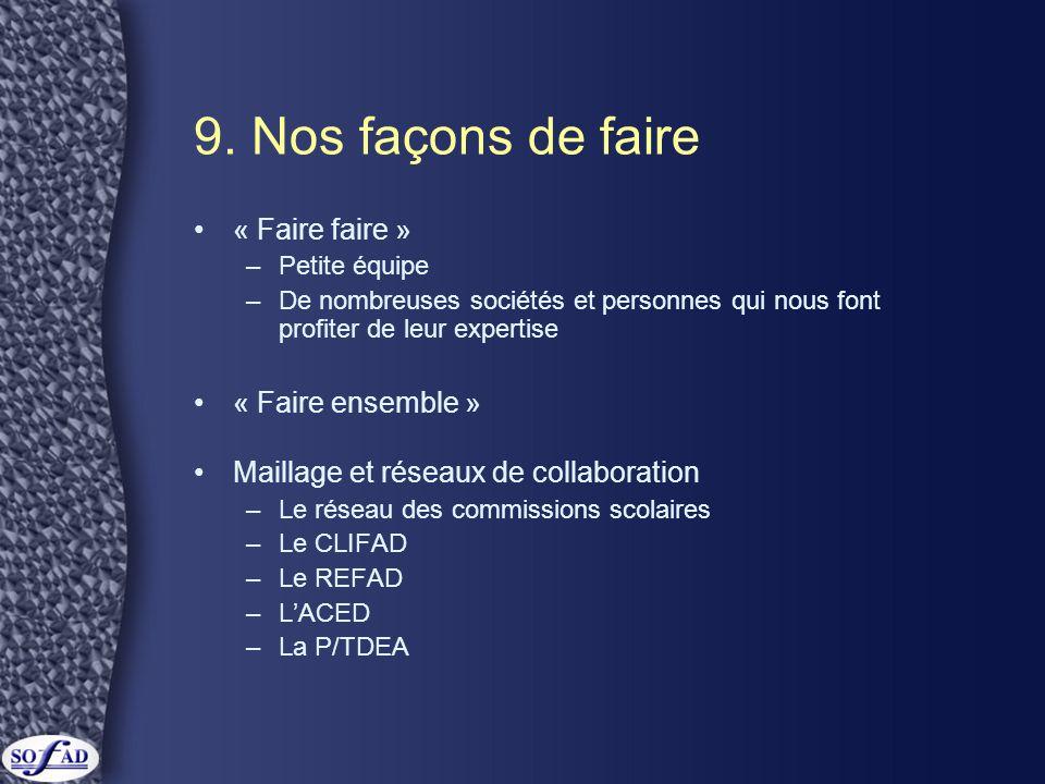 9. Nos façons de faire •« Faire faire » –Petite équipe –De nombreuses sociétés et personnes qui nous font profiter de leur expertise •« Faire ensemble