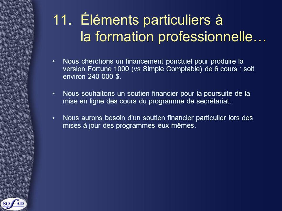 11. Éléments particuliers à la formation professionnelle… •Nous cherchons un financement ponctuel pour produire la version Fortune 1000 (vs Simple Com