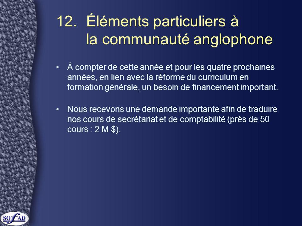 12. Éléments particuliers à la communauté anglophone •À compter de cette année et pour les quatre prochaines années, en lien avec la réforme du curric