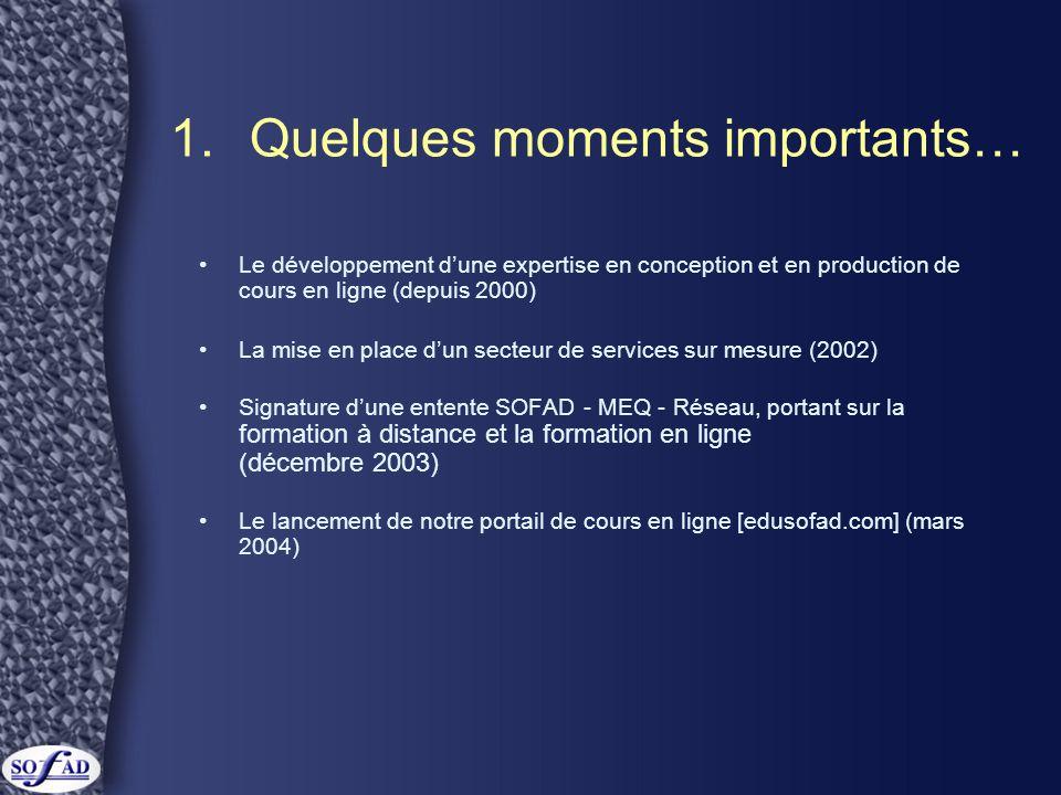 1.Quelques moments importants… •Le développement d'une expertise en conception et en production de cours en ligne (depuis 2000) •La mise en place d'un secteur de services sur mesure (2002) •Signature d'une entente SOFAD - MEQ - Réseau, portant sur la formation à distance et la formation en ligne (décembre 2003) •Le lancement de notre portail de cours en ligne [edusofad.com] (mars 2004)