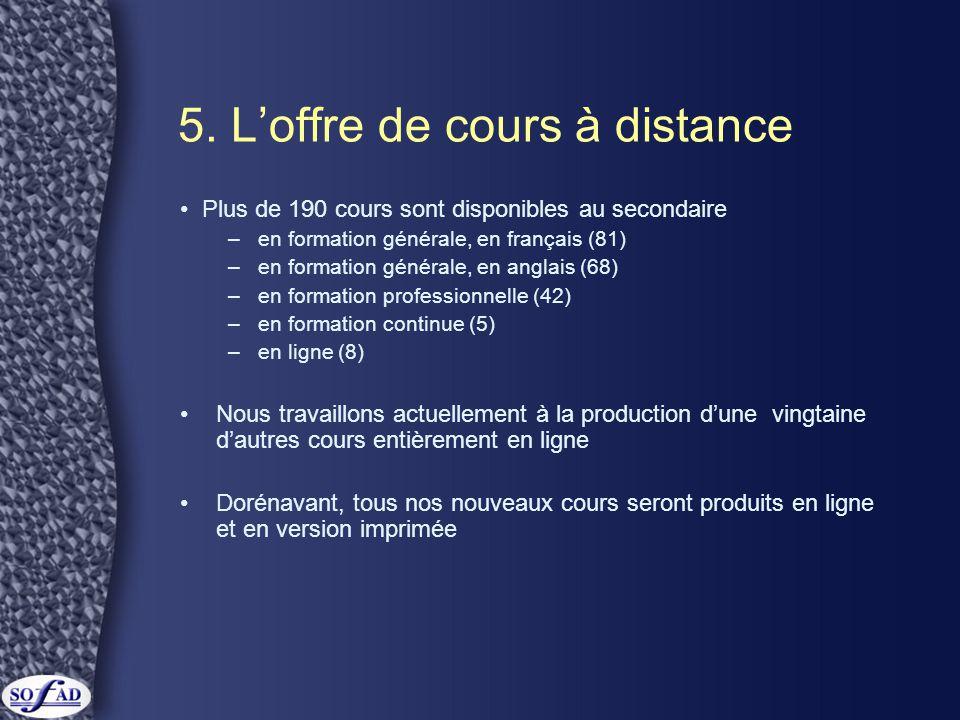 5. L'offre de cours à distance • Plus de 190 cours sont disponibles au secondaire –en formation générale, en français (81) –en formation générale, en