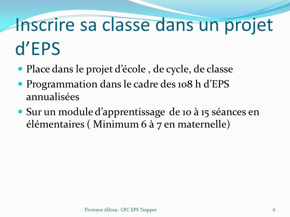 Inscrire sa classe dans un projet d'EPS  Place dans le projet d'école, de cycle, de classe  Programmation dans le cadre des 108 h d'EPS annualisées  Sur un module d'apprentissage de 10 à 15 séances en élémentaires ( Minimum 6 à 7 en maternelle) 6Florence Allora - CPC EPS Trappes