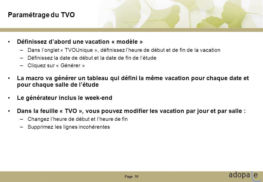 Page 10 Paramétrage du TVO •Définissez d'abord une vacation « modèle » –Dans l'onglet « TVOUnique », définissez l'heure de début et de fin de la vacation –Définissez la date de début et la date de fin de l'étude –Cliquez sur « Générer » •La macro va générer un tableau qui défini la même vacation pour chaque date et pour chaque salle de l'étude •Le générateur inclus le week-end •Dans la feuille « TVO », vous pouvez modifier les vacation par jour et par salle : –Changez l'heure de début et l'heure de fin –Supprimez les lignes incohérentes
