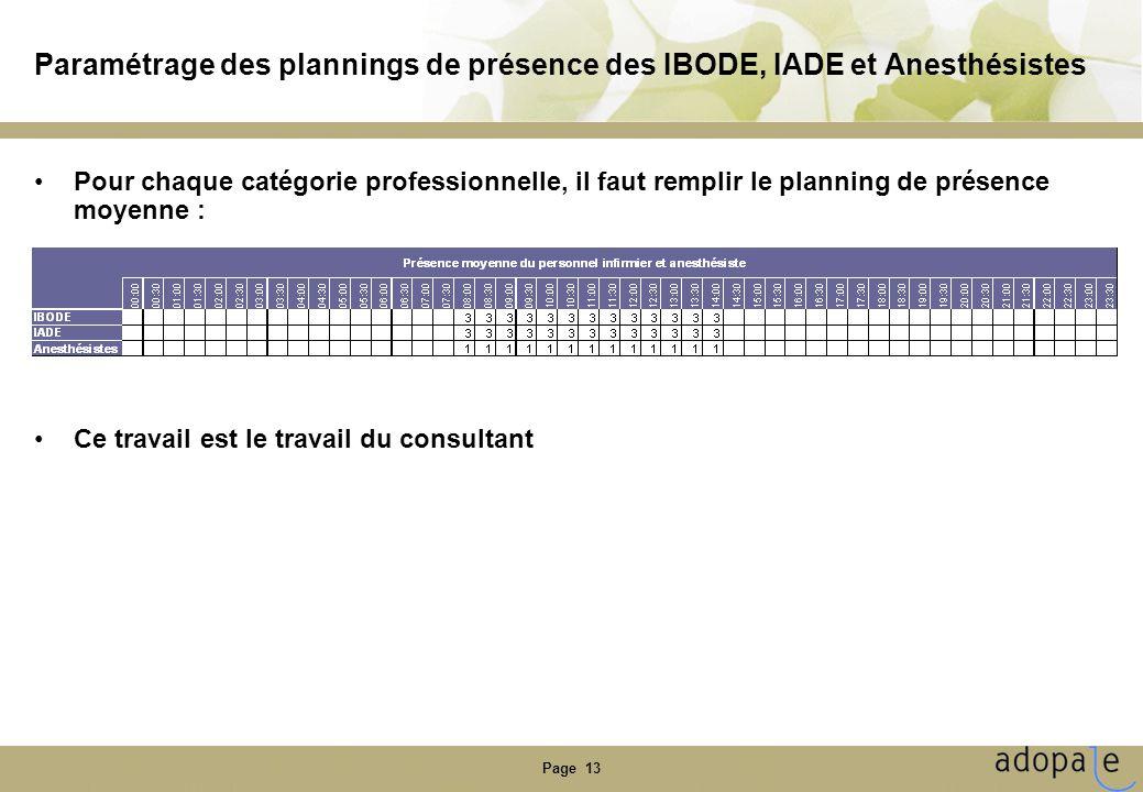 Page 13 Paramétrage des plannings de présence des IBODE, IADE et Anesthésistes •Pour chaque catégorie professionnelle, il faut remplir le planning de présence moyenne : •Ce travail est le travail du consultant