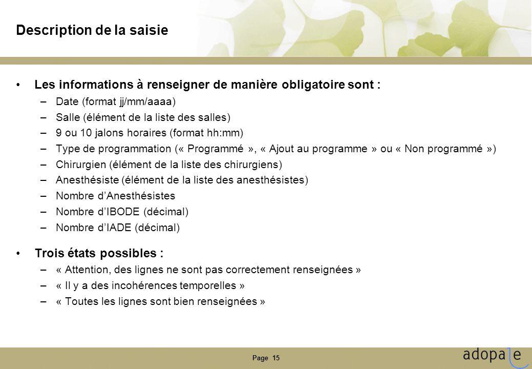 Page 15 Description de la saisie •Les informations à renseigner de manière obligatoire sont : –Date (format jj/mm/aaaa) –Salle (élément de la liste de