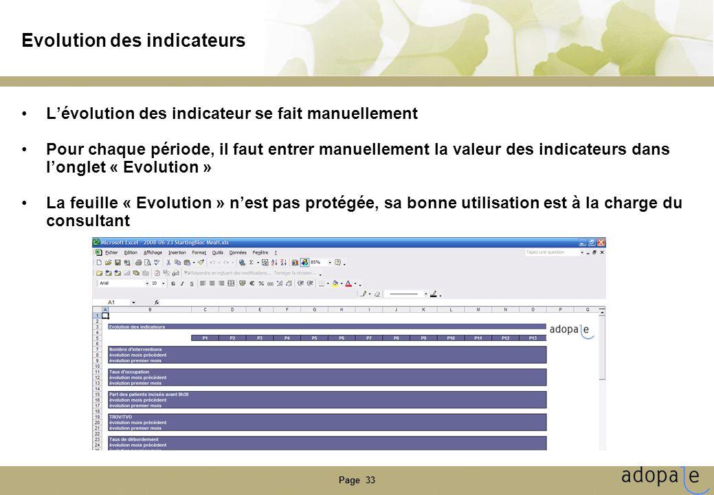 Page 33 Evolution des indicateurs •L'évolution des indicateur se fait manuellement •Pour chaque période, il faut entrer manuellement la valeur des ind