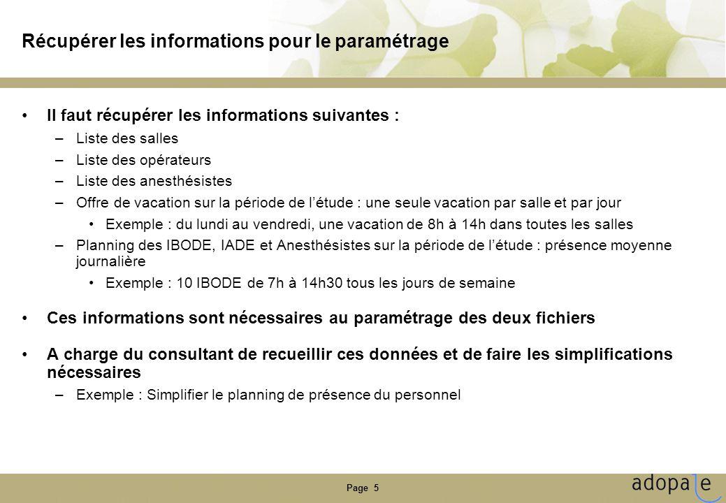 Page 5 Récupérer les informations pour le paramétrage •Il faut récupérer les informations suivantes : –Liste des salles –Liste des opérateurs –Liste d