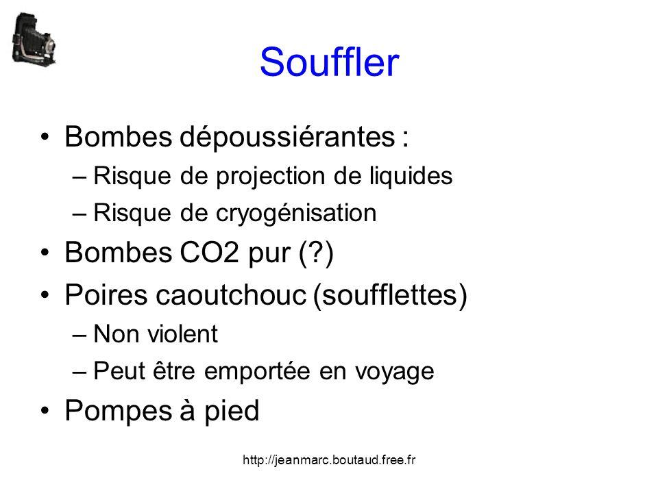 http://jeanmarc.boutaud.free.fr Souffler •Bombes dépoussiérantes : –Risque de projection de liquides –Risque de cryogénisation •Bombes CO2 pur (?) •Po