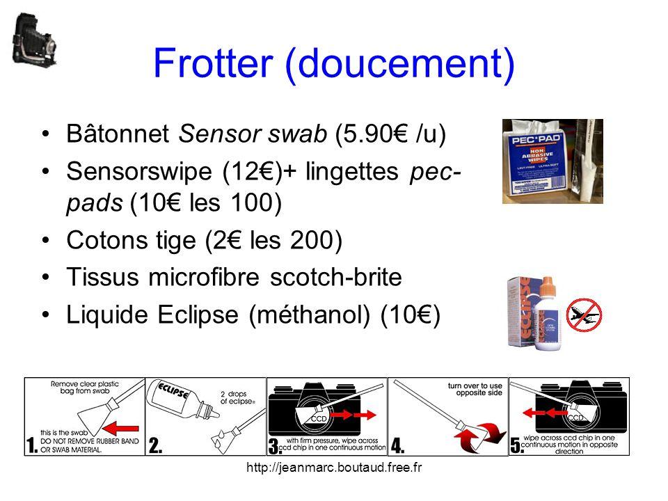 http://jeanmarc.boutaud.free.fr Frotter (doucement) •Bâtonnet Sensor swab (5.90€ /u) •Sensorswipe (12€)+ lingettes pec- pads (10€ les 100) •Cotons tig