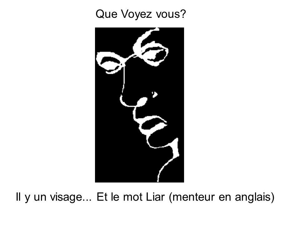 Il y un visage... Et le mot Liar (menteur en anglais) What do Que Voyez vous?