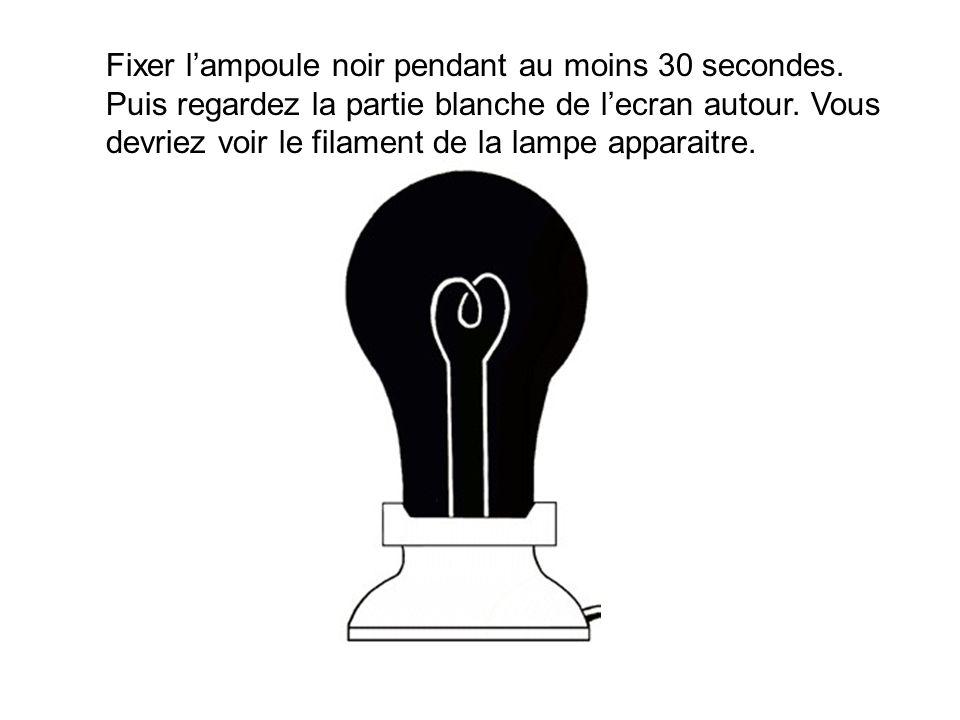 Fixer l'ampoule noir pendant au moins 30 secondes. Puis regardez la partie blanche de l'ecran autour. Vous devriez voir le filament de la lampe appara