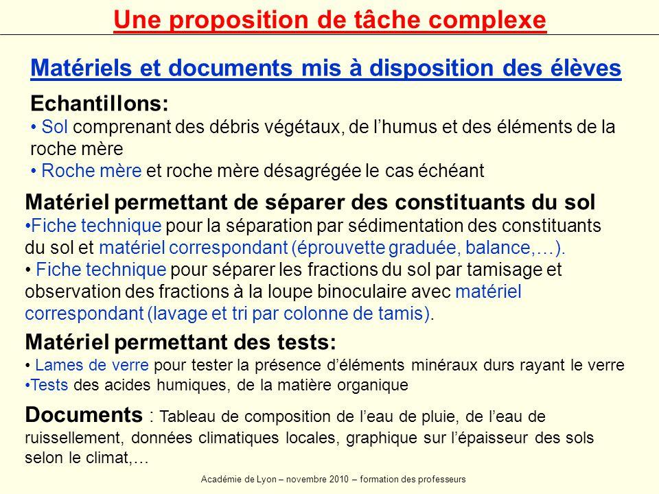 Matériel permettant de séparer des constituants du sol •Fiche technique pour la séparation par sédimentation des constituants du sol et matériel correspondant (éprouvette graduée, balance,…).