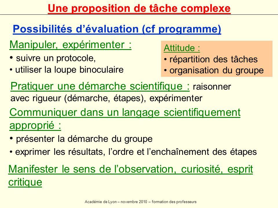 Possibilités d'évaluation (cf programme) Manipuler, expérimenter : • suivre un protocole, • utiliser la loupe binoculaire Pratiquer une démarche scien