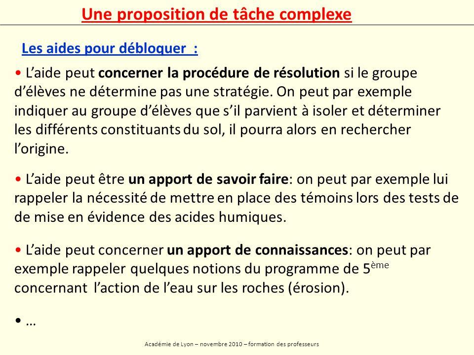 Académie de Lyon – novembre 2010 – formation des professeurs Annexes