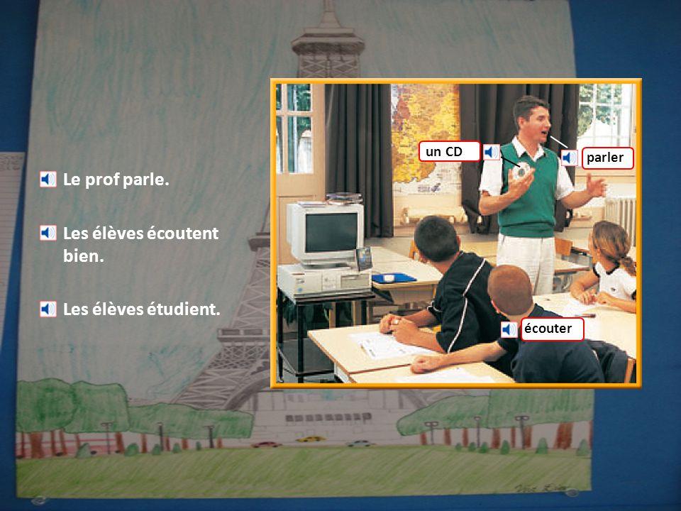 Le prof parle. Les élèves écoutent bien. Les élèves étudient. parler un CD écouter