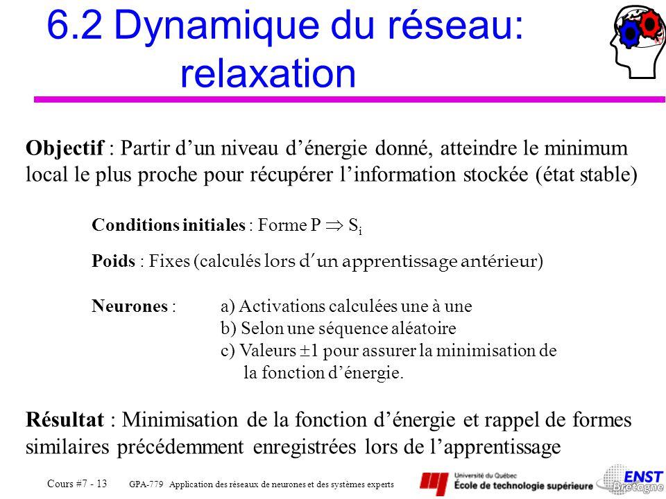 GPA-779 Application des réseaux de neurones et des systèmes experts Cours #7 - 13 6.2Dynamique du réseau: relaxation Objectif : Partir d'un niveau d'énergie donné, atteindre le minimum local le plus proche pour récupérer l'information stockée (état stable) Conditions initiales : Forme P  S i Poids : Fixes (calculés lors d'un apprentissage antérieur) Neurones : a) Activations calculées une à une b) Selon une séquence aléatoire c) Valeurs  1 pour assurer la minimisation de la fonction d'énergie.