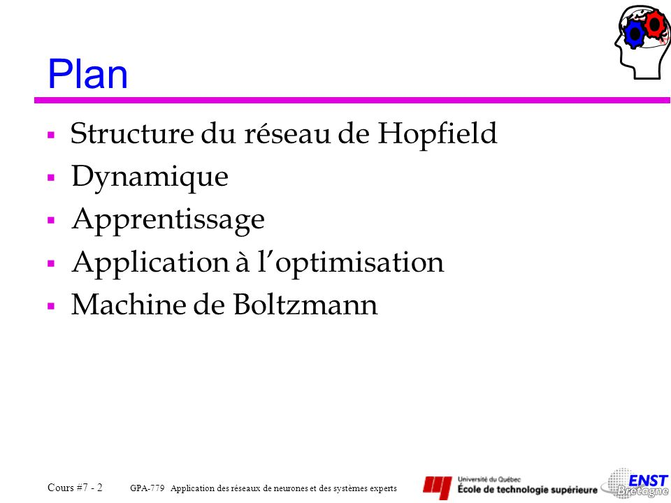 GPA-779 Application des réseaux de neurones et des systèmes experts Cours #7 - 2 Plan  Structure du réseau de Hopfield  Dynamique  Apprentissage  Application à l'optimisation  Machine de Boltzmann