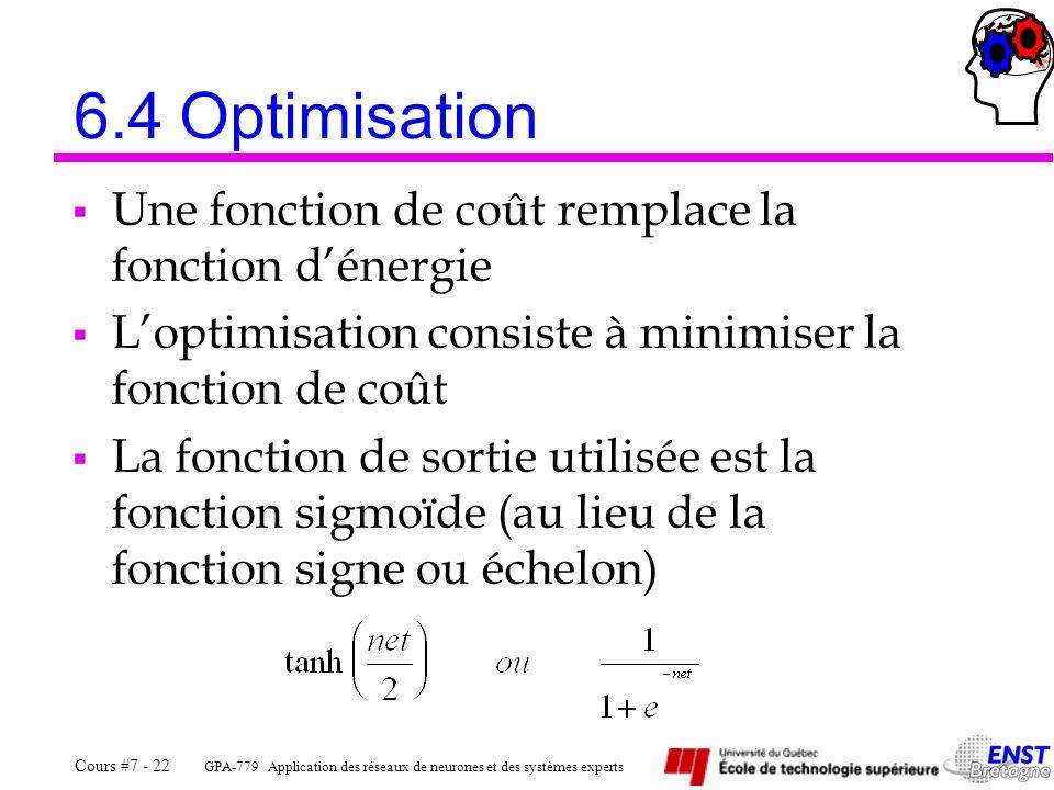 GPA-779 Application des réseaux de neurones et des systèmes experts Cours #7 - 22 6.4Optimisation  Une fonction de coût remplace la fonction d'énergie  L'optimisation consiste à minimiser la fonction de coût  La fonction de sortie utilisée est la fonction sigmoïde (au lieu de la fonction signe ou échelon)