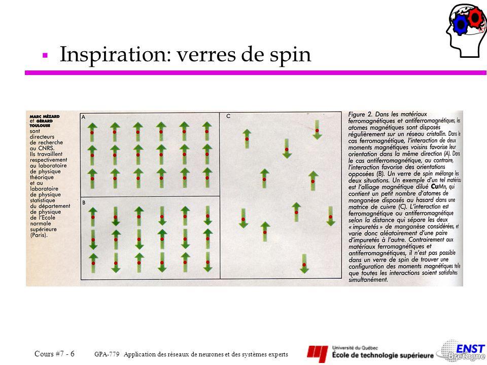 GPA-779 Application des réseaux de neurones et des systèmes experts Cours #7 - 6  Inspiration: verres de spin