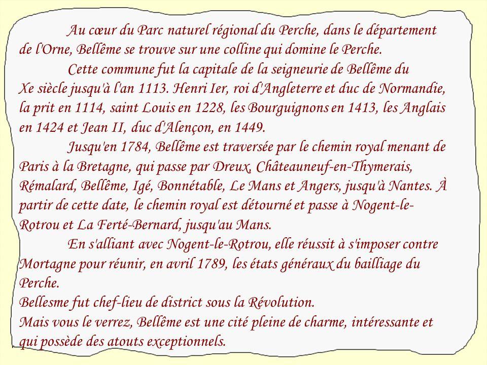Habitants : les Bellêmois. Densité : 1562 habitants. Département de l'Orne. Région de la Basse-Normandie.