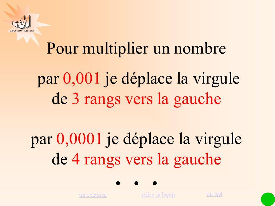 La Géométrie Autrement 1 2 3 4 5 6 Pour multiplier un nombre par 0,01 je déplace la virgule de 2 rangs vers la gauche 7 8 9, 1 234,56 × 0,01 = 12,3456