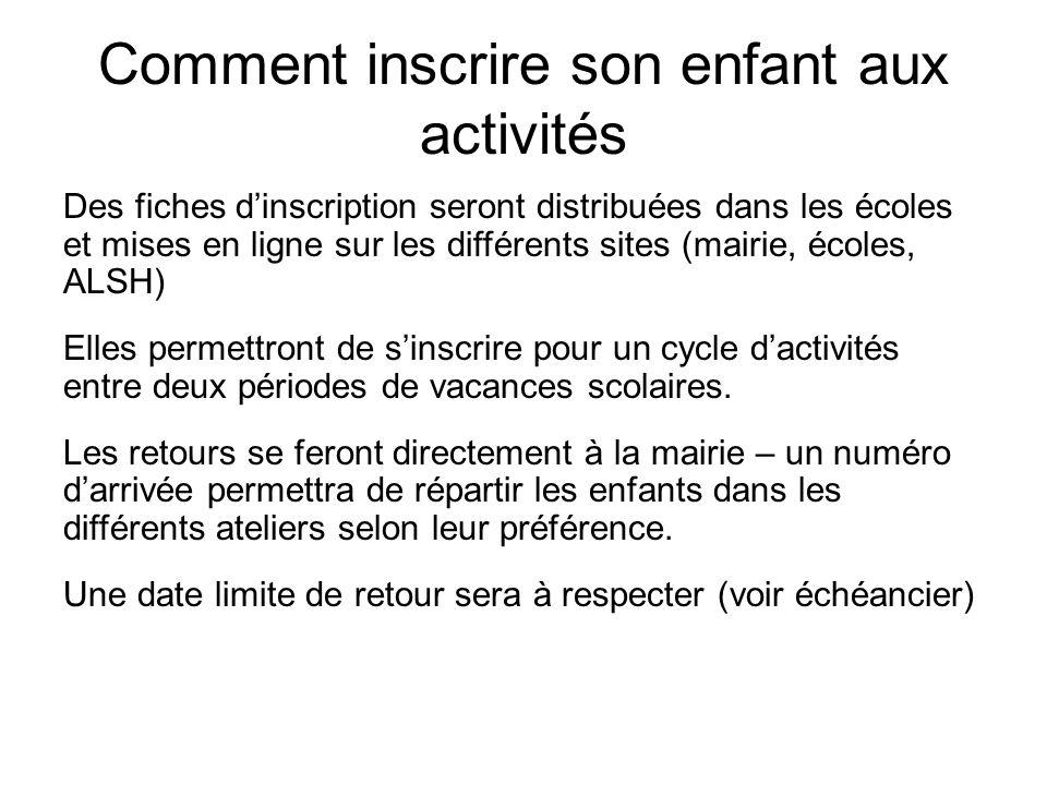 Comment inscrire son enfant aux activités Des fiches d'inscription seront distribuées dans les écoles et mises en ligne sur les différents sites (mair