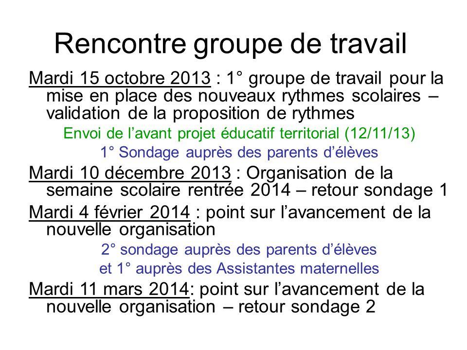 Rencontre groupe de travail Mardi 15 octobre 2013 : 1° groupe de travail pour la mise en place des nouveaux rythmes scolaires – validation de la propo