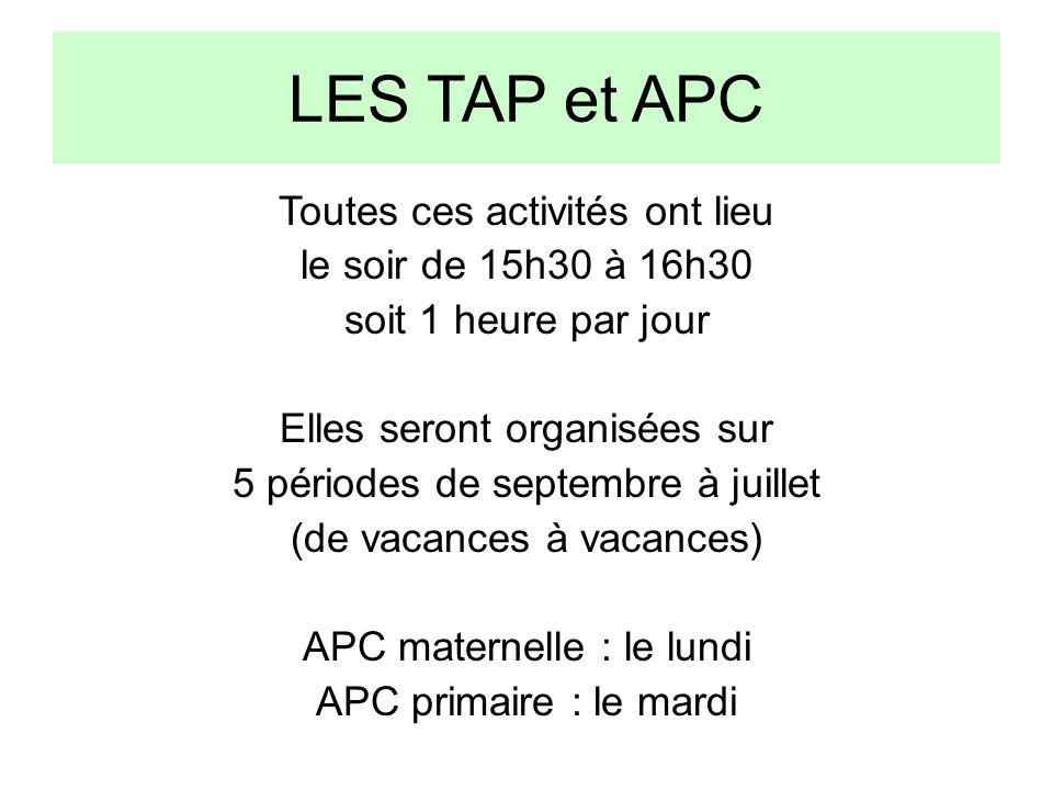 LES TAP et APC Toutes ces activités ont lieu le soir de 15h30 à 16h30 soit 1 heure par jour Elles seront organisées sur 5 périodes de septembre à juil