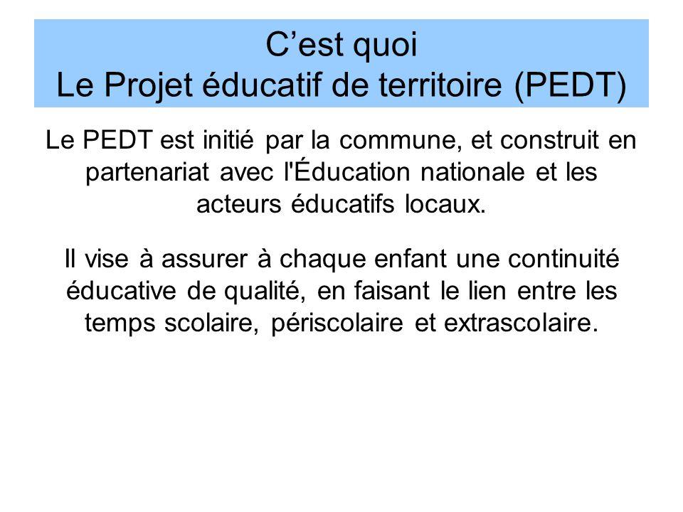 C'est quoi Le Projet éducatif de territoire (PEDT) Le PEDT est initié par la commune, et construit en partenariat avec l'Éducation nationale et les ac