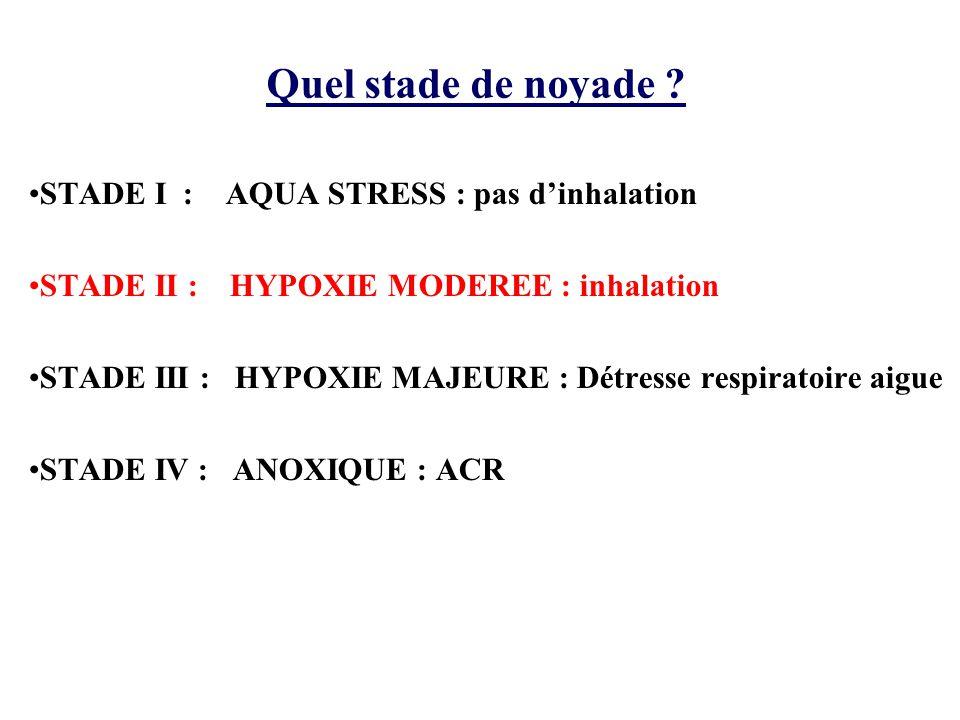 Quel stade de noyade ? •STADE I : AQUA STRESS : pas d'inhalation •STADE II : HYPOXIE MODEREE : inhalation •STADE III : HYPOXIE MAJEURE : Détresse resp