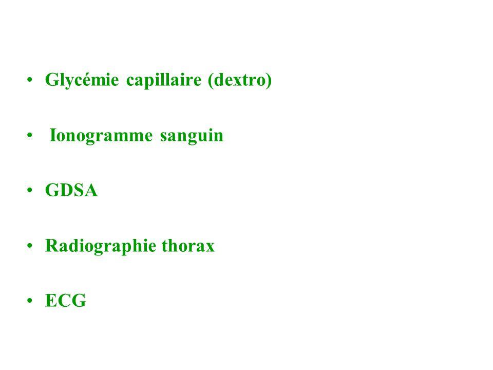 •Glycémie capillaire (dextro) • Ionogramme sanguin •GDSA •Radiographie thorax •ECG