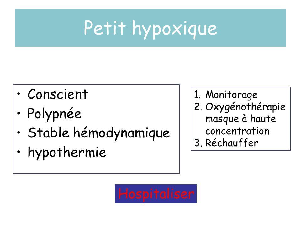 Petit hypoxique •Conscient •Polypnée •Stable hémodynamique •hypothermie 1.Monitorage 2.Oxygénothérapie masque à haute concentration 3.Réchauffer Hospi