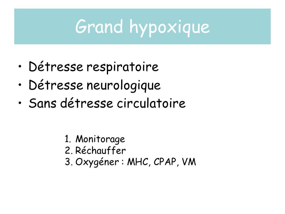 Grand hypoxique •Détresse respiratoire •Détresse neurologique •Sans détresse circulatoire 1.Monitorage 2.Réchauffer 3.Oxygéner : MHC, CPAP, VM
