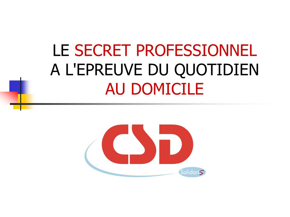 LE SECRET PROFESSIONNEL A L EPREUVE DU QUOTIDIEN AU DOMICILE