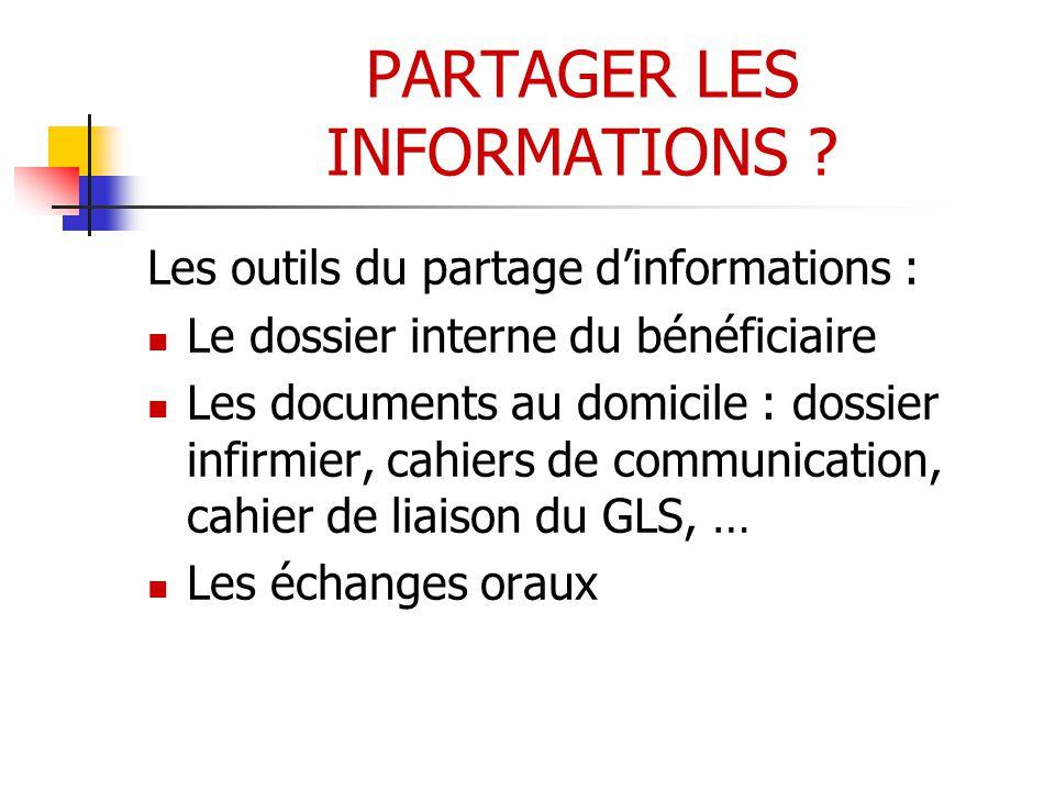 PARTAGER LES INFORMATIONS .