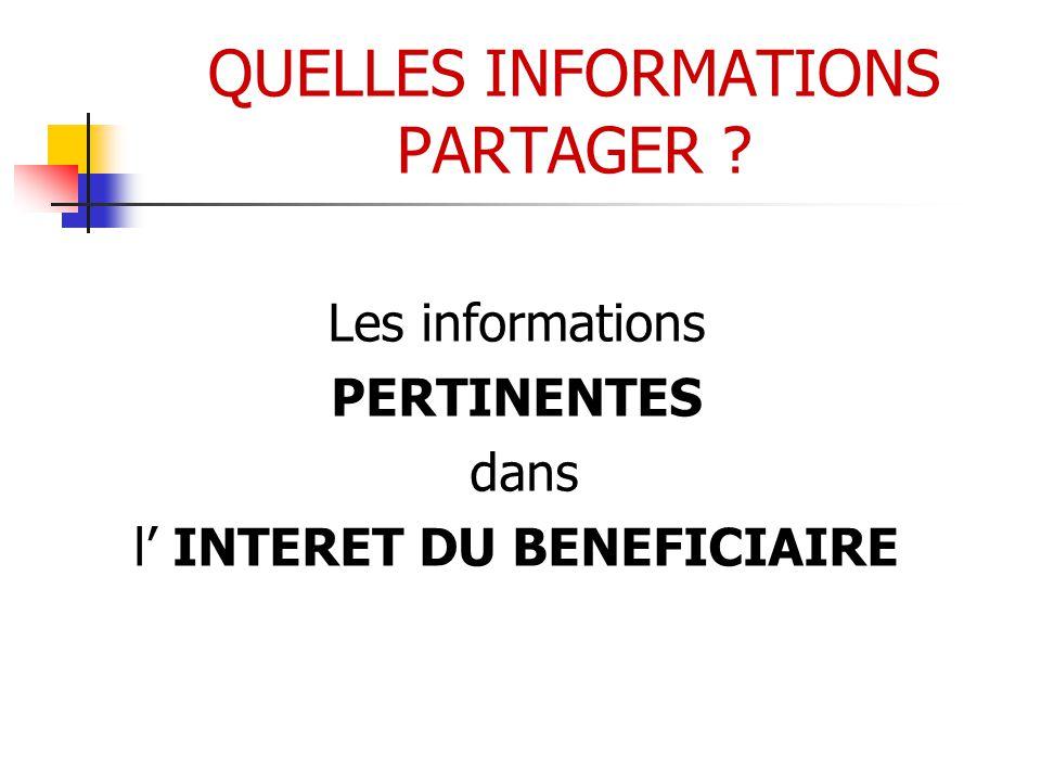 QUELLES INFORMATIONS PARTAGER ? Les informations PERTINENTES dans l' INTERET DU BENEFICIAIRE