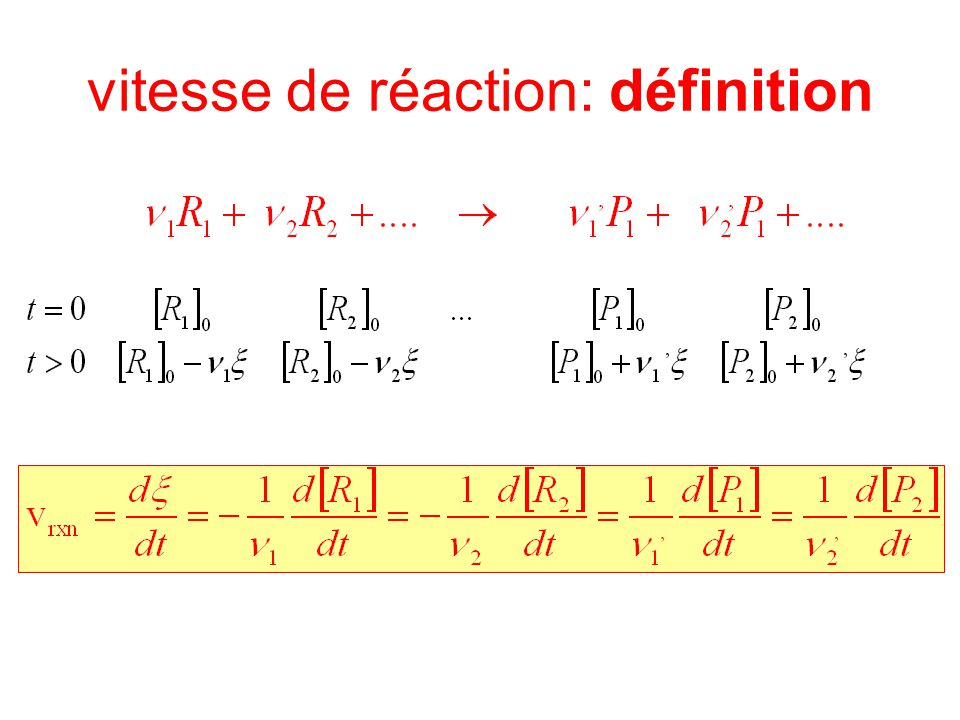 vitesse de réaction: définition