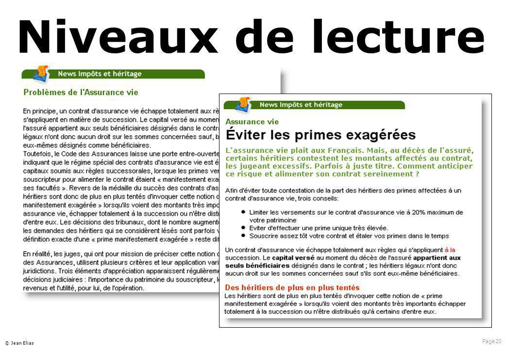 Page 20 © Jean Elias Niveaux de lecture