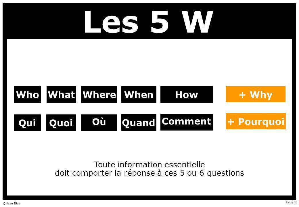 Page 40 © Jean Elias Les 5 W WhoWhat Comment + Pourquoi WhereWhenHow QuiQuoi Quand OùOù + Why Toute information essentielle doit comporter la réponse