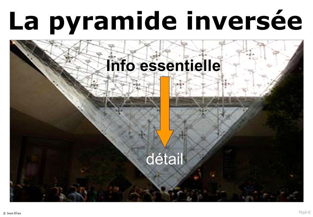 Page 42 © Jean Elias La pyramide inversée détail Info essentielle