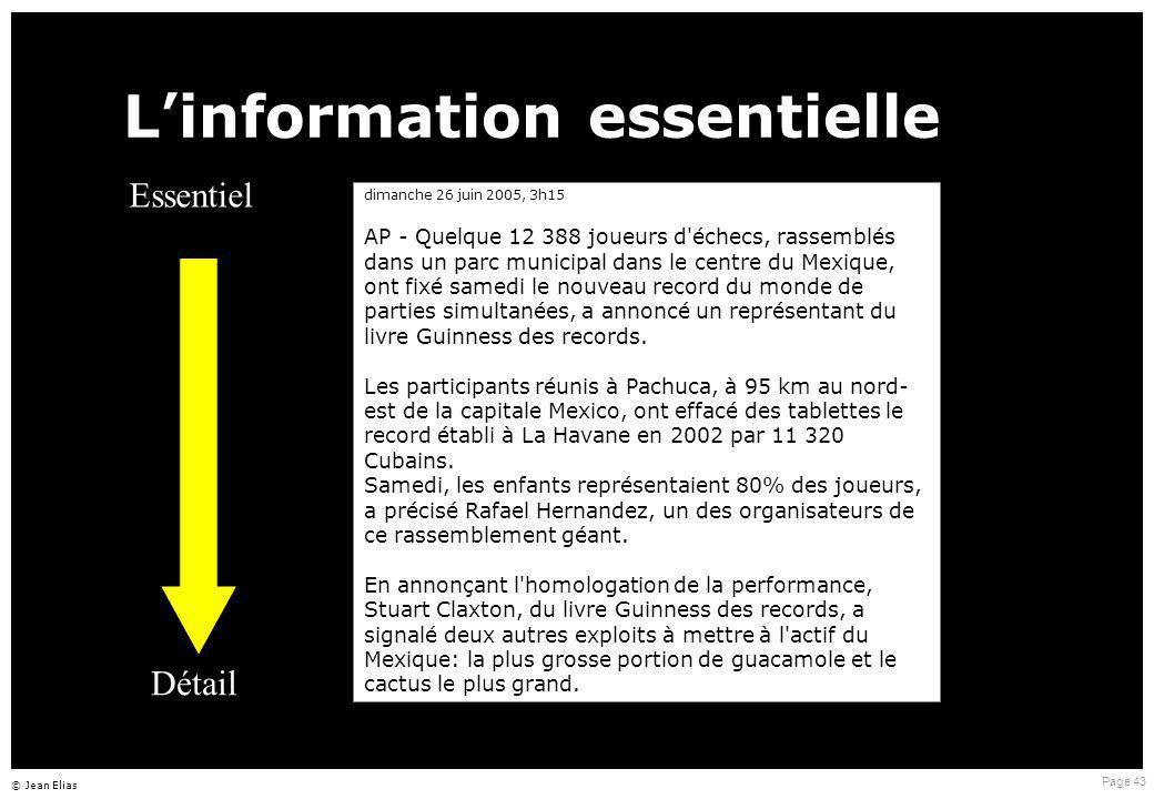 Page 43 © Jean Elias L ' information essentielle dimanche 26 juin 2005, 3h15 AP - Quelque 12 388 joueurs d'échecs, rassemblés dans un parc municipal d