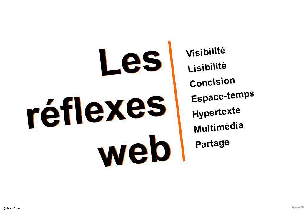 Page 46 © Jean Elias Visibilité Lisibilité Concision Espace-temps Hypertexte Multimédia Partage Les réflexes web