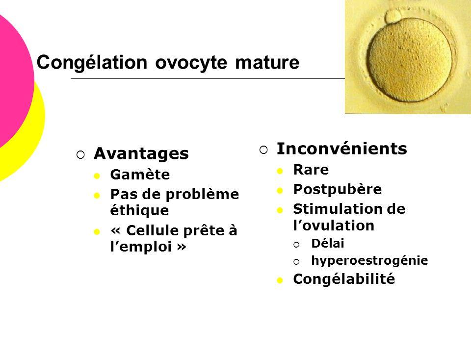 Congélation ovocyte mature  Avantages  Gamète  Pas de problème éthique  « Cellule prête à l'emploi »  Inconvénients  Rare  Postpubère  Stimula