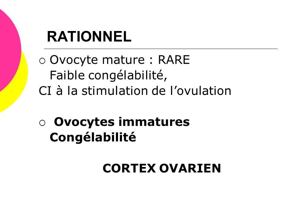RATIONNEL  Ovocyte mature : RARE Faible congélabilité, CI à la stimulation de l'ovulation  Ovocytes immatures Congélabilité CORTEX OVARIEN