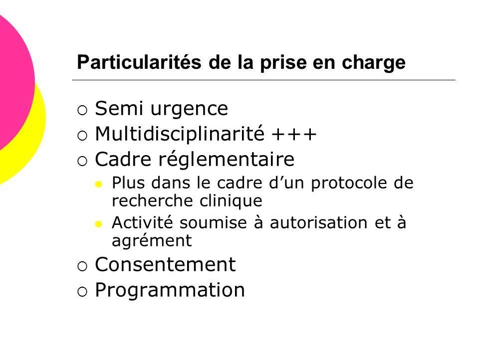 Particularités de la prise en charge  Semi urgence  Multidisciplinarité +++  Cadre réglementaire  Plus dans le cadre d'un protocole de recherche c