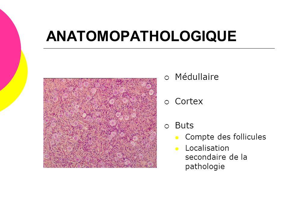 ANATOMOPATHOLOGIQUE  Médullaire  Cortex  Buts  Compte des follicules  Localisation secondaire de la pathologie