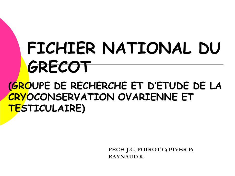 FICHIER NATIONAL DU GRECOT (GROUPE DE RECHERCHE ET D'ETUDE DE LA CRYOCONSERVATION OVARIENNE ET TESTICULAIRE) PECH J.C; POIROT C; PIVER P; RAYNAUD K.