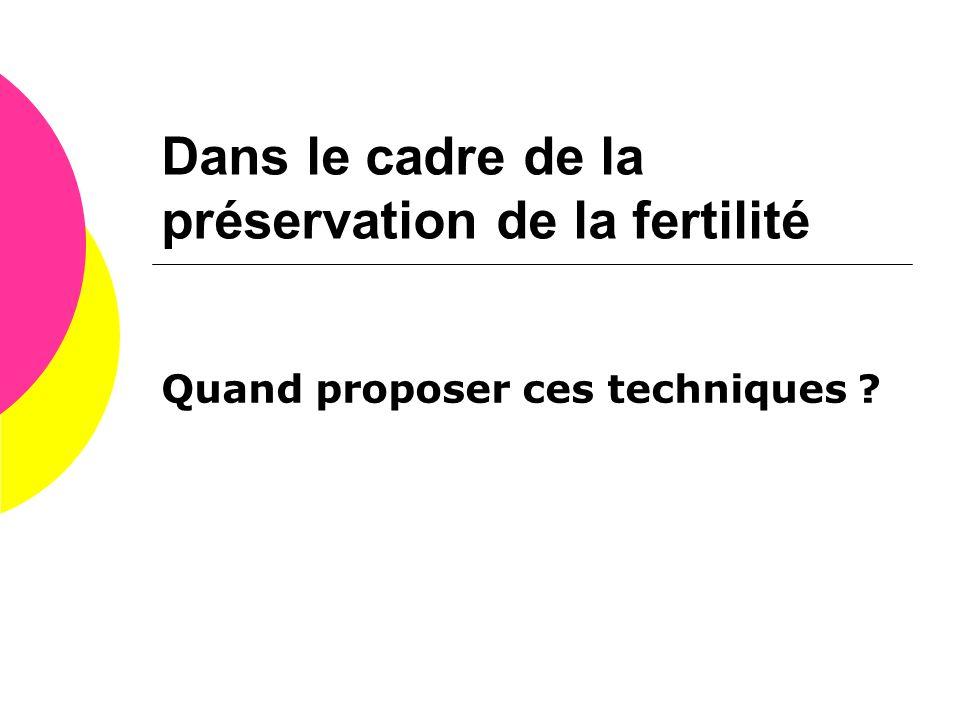 Dans le cadre de la préservation de la fertilité Quand proposer ces techniques ?